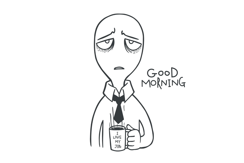 Cartoon tired man with i love my job coffee cup