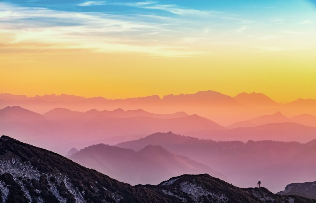 mountain range, horizon, sunset