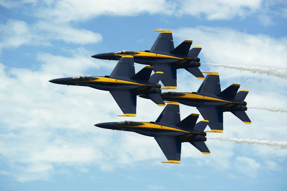 airforce jets in display formation